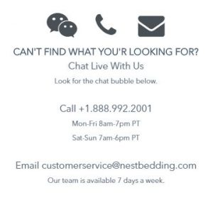 nest bedding Customer service & contact details