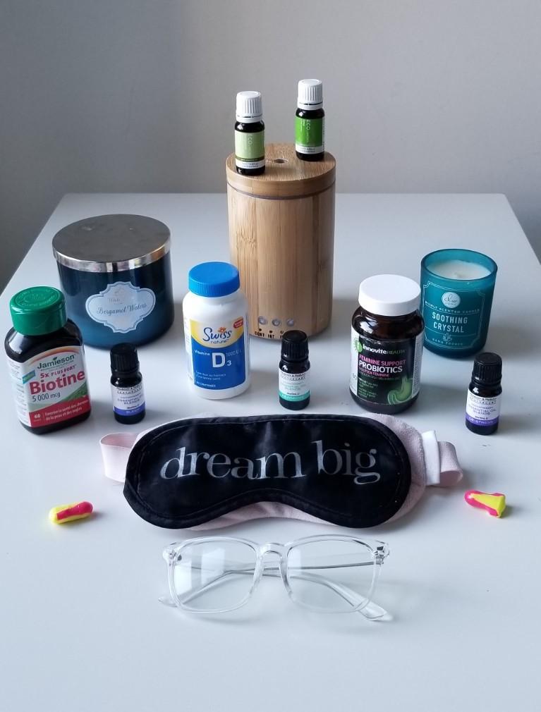 sleep-savvy-supplements-eye-mask-ear-plugs-essential-oils-diffuser