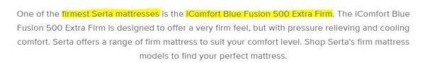 serta firmest mattress is icomfort blue fusion 500 extra firm