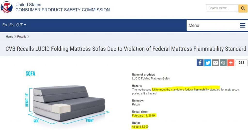 Lucid Mattres Recall Folding Mattresses Only